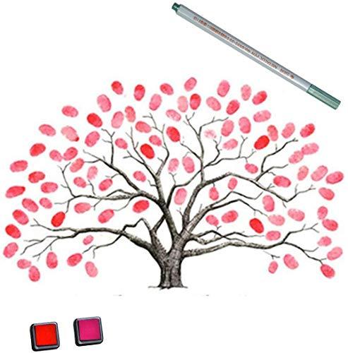 EQLEF Invitación de la Boda Huella Digital, Boda Bricolaje Árbol de la Huella Digital Custom Wedding Thumbprint Tree Libro de Invitados Cartel Suministros de la Boda (Tipo 1)