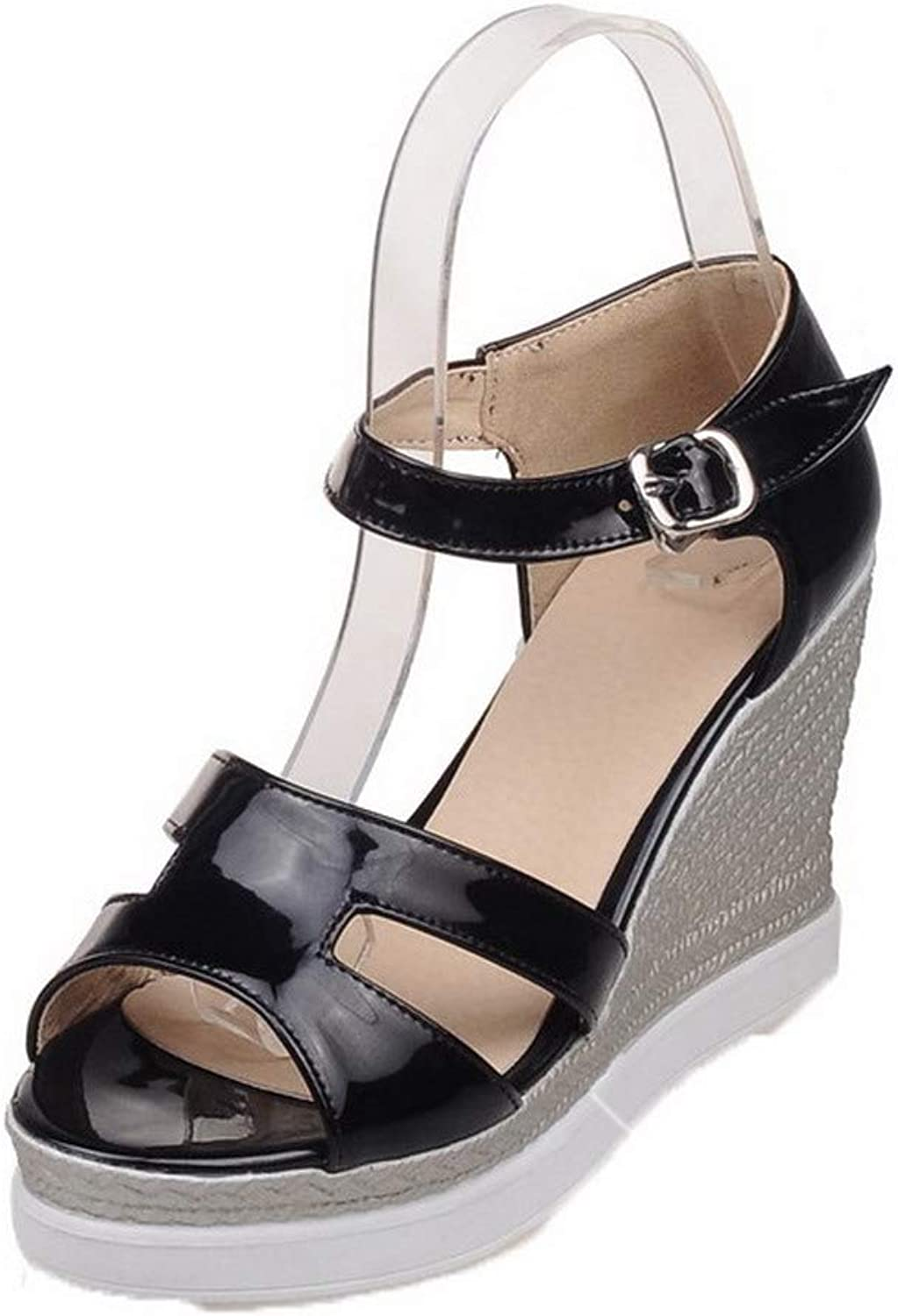 AllhqFashion Women's Open-Toe Buckle Patent Leather Solid High-Heels Sandals, FBULD014991
