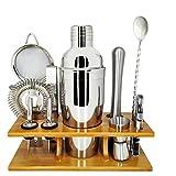 SHYOD 11pcs Bar Set 750ml Cocktail Shaker Set con Elegante Soporte de Madera y Recetas Folleto Home Bartending Kit con Herramientas de Barras