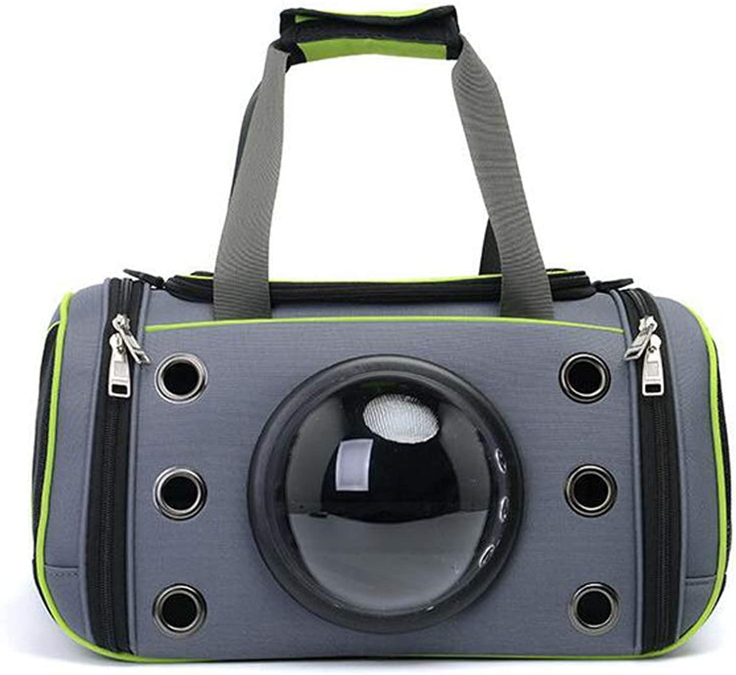 FJH Portable Space Capsule Pet Travel Bag Cat Aviation Small Teddy Dog Backpack Cat Bag Pet Supplies (color   Green)