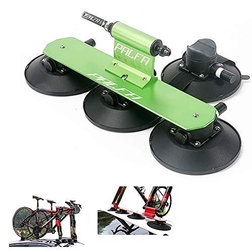 Yajun Portabicicletas con Ventosa Baca Techo para Bicicleta Aluminio Estante De Transporte Montaje Coche Piezas De Bicicleta,Green-1