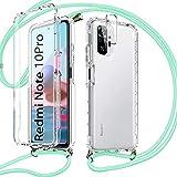 Pnakqil Funda con Cuerda para Xiaomi Redmi Note 10 Pro 4G/Pro MAX + 1 x Película de Lentes Estuche para teléfono de Silicona TPU de 360 Grados con cordón Ajustable para Correa para el Cuello -Verde