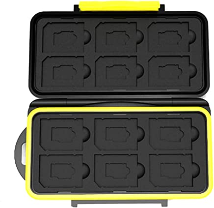 Memory Card Case - Water-Resistant Shockproof Carrying Bag - 12 Slots Micro SD Cards/SD Cards Protector Box (Yellow)
