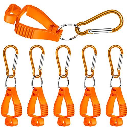 6 Pieces Glove Grabber Clip Holder Work Safety Clip Glove Keeper Glove Clamp Grabber Catcher for Belt Loop Guard Labor Worker Glasses Helmets (Orange)