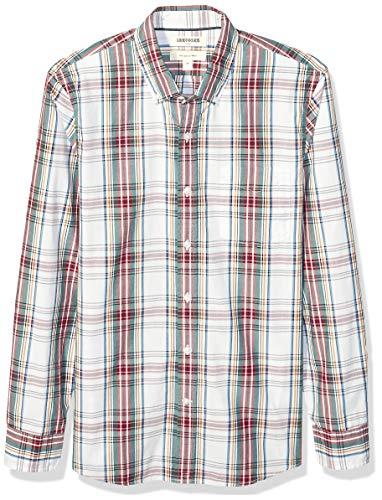 Amazon Brand - Goodthreads Men's Slim-Fit Long-Sleeve Plaid Poplin Shirt, White Oversized Tartan XX-Large