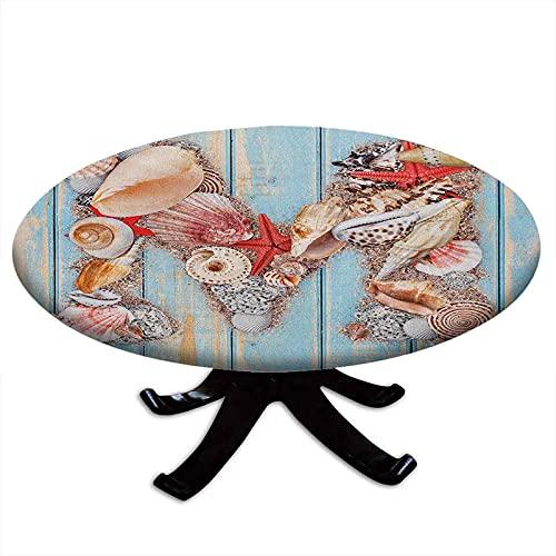 Mantel redondo con diseño de letra M, con fondo de madera, borde elástico, impermeable y lavable, 48 pulgadas de diámetro, color azul pálido y coral oscuro