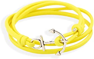 Retro Navy Anchor Leather Bracelet,Five-color Adjustable Leather Rope Link Bracelet for Boy Girls Holiday Gifts