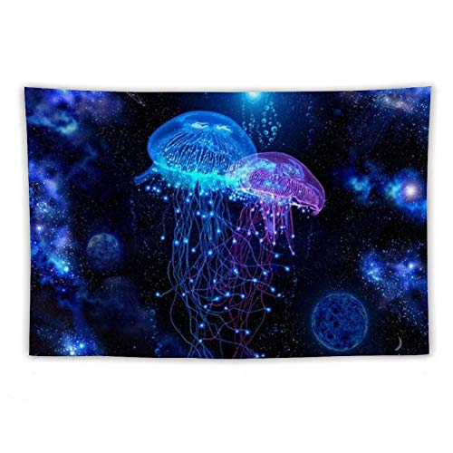 Galaxy Sea Ocean Jellyfish Tapestry, Hippie Wall Hanging Tapestry Art, Bohemian Blanket Bedspread Beach Throw for Bedroom Living Room Collage Dorm (Galaxy Marine Jellyfish, 60*70IN)