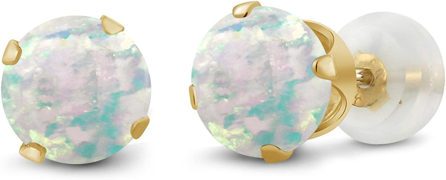 0.60 Ct Round Cabochon 6mm White Simulated Opal 10K Yellow gold Stud Earrings