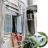 YUJIANHUAA Telo Impermeabile Trasparente,Telo Resistente alle Intemperie con Occhielli,Tloni Pieghevoli in Materiale PVC da 0,35 mm,per Balcone,Camper,Gazebo e Giardino,Corda Inclusa (2.3x3.5m)