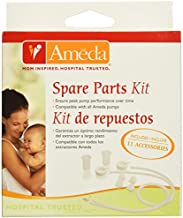Ameda Spare Parts Kit for Breast Pump Includes: (4) Valves, (2) Silicone Tubing, (2) Silicone Diaphragms, (2) Adapter Caps, (1) Tubing Adapter, Compatible with Ameda Breast Pumps, BPA Free DEHP Free