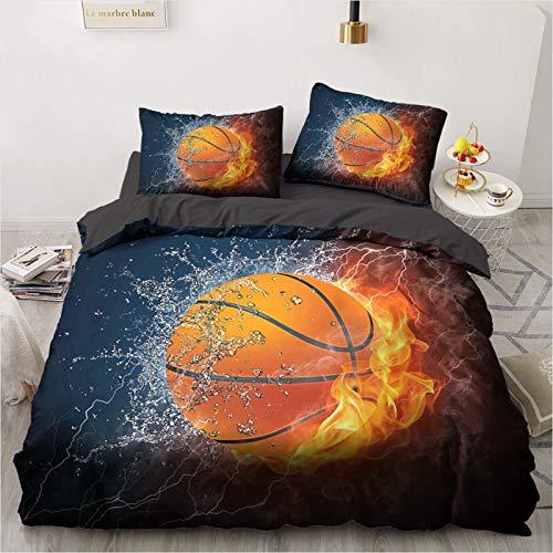 XUEJIAN Juego de ropa de cama con diseño de fútbol en 3D, 100% poliéster, con fundas de almohada, diseño de la serie de pelotas, apertura y cierre, regalos de vacaciones (7,140 x 210 cm)