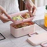 MxZas Box Lunch de Protección Ambiental de Fibra de bambú Almuerzo Caja sellada Vajilla Plato de Arroz de Hogares de Dibujos Animados Anti-caída Fiambrera, Beige Jzx-n (Color : Pink)
