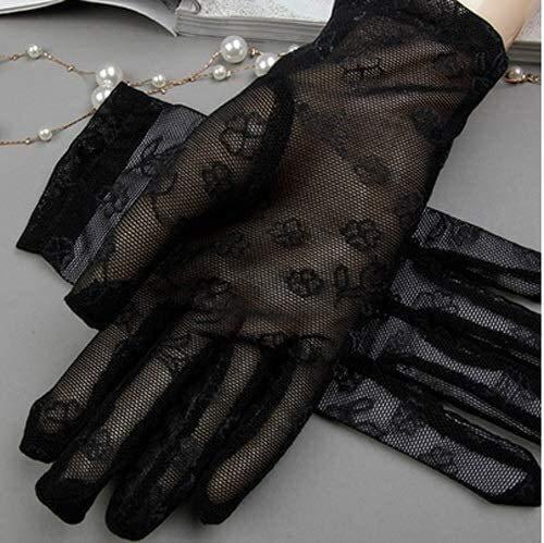 Guantes Ropa de boda retro del cortocircuito del cordón del verano de conducción finos guantes hembra de protección solar protector solar hecho a mano Hielo Negro encaje de seda Loli Manual de manteni