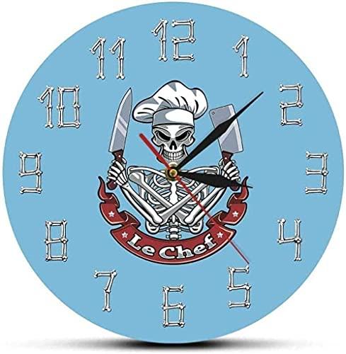 WYDSFWL Reloj de Pared Relojes de Pared Skull Chef Reloj de Pared Moderno Reloj Esqueleto con Sombrero de Chef Cuchilla Cuchilla Restaurante Decoración de Cocina Regalo Divertido de Chef