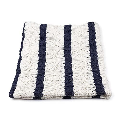 Vezavena   Manta de Estilo Crochet con Calados de Rayas en Azul Navy y Crudo para Sofás o Camas   Elaborada con Algodón Ecológico Reciclado   Textil de Hogar para Salón o Habitación - 120x170