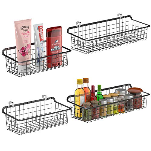 Wall Basket Cambond Metal Wall Mounted Wire Baskets for Storage Durable Hanging Wire Wall Basket for Kitchen Home Office Bathroom Garage Wall Mount Hooks Included 2 Large and 2 Small Black