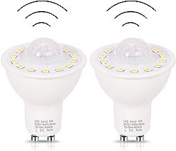 2Pack GU10 PIR Motion Sensor LED Light Bulbs 5W,50W Equivalent 500lm Day White 6000K for Stairs Garage Corridor Walkway Ha...