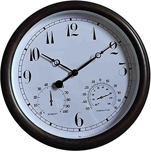 DSADDSD' 12 Pulgada Interior/al Aire Libre Retro Reloj de Pared sin tictac con termómetro e higrómetro, Relojes de Pared Decorativos operados por la batería for la Cocina a casa (Color : A)