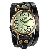 JewelryWe Herren Damen Armbanduhr, Schwarz Leder Armband Wickelarmband, Casual Retro, Analog Quarz Uhr, Vintage grünes Digital Zifferblatt