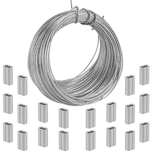 TOYMIS 30.5 m De Alambre Para Colgar Cuadros Con 20 Fundas De Engarce De Aluminio Para Espejo Marco De Reloj Colgar Obras De Arte