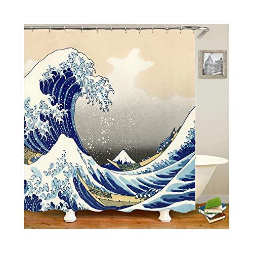 Amody Duschvorhang Durchsichtig Waschbar Wellen Größe 180x200CM Duschvorhang Anti Schimmel Antibakteriell Fenster Vorhänge Bad Bunten