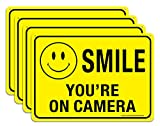 (4 Pack) Faittoo Smile You're On Camera Sign, 10x7 Reflective Rust Free .40 Aluminum, UV Protected, Weather Resistant, Durable Ink, Indoor & Outdoor Use for Home Business CCTV Security Camera