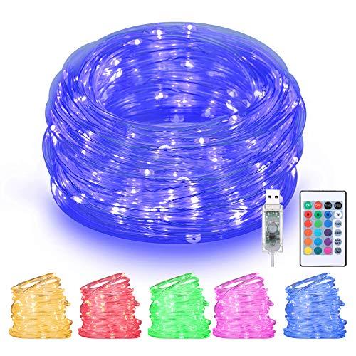 LED Lichtschlauch Außen 10M 100 LED, Othran LED Lichterkette mit Fernbedienung, USB & Bunt, 4 Modi und 16 Farben, Wasserdicht, Lichterkette Innen Strombetrieben, für Außen Party Weihnachten…