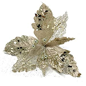 Allgala 6-PK Glitter and Sequin Decorated Fabric Poinsettia Artificial Christmas Flower with Clips for Wreath Garland Treetopper Christmas Tree