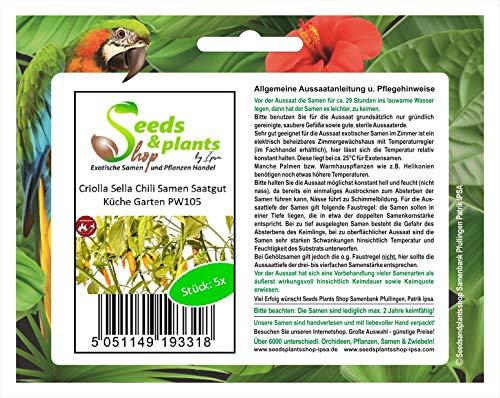 Stk - 5x Sella Criolla Chile Semillas Cocina Jardín PW105 - Seeds Plants Shop Samenbank Pfullingen Patrik Ipsa
