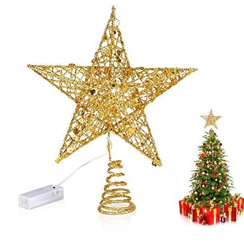 Weihnachtsbaum Stern,Topper Lichter,Weihnachtsbaumspitze glitzernder,baumkronen Lampe,beleuchtete Sterne,funkelnden Sterne,Weihnachtsbaumspitze Dekoration,Weihnachten Dekoration LED (Golden)