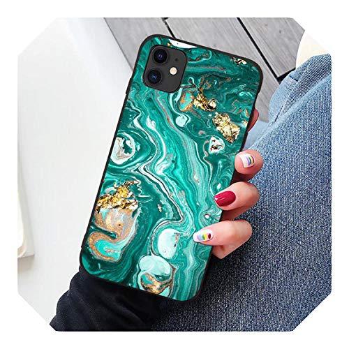 Mat marmer telefoonhoesje voor iPhone 11 Pro Max 7 6S 6 8 Plus groene graniet steen cover voor iPhone X Xs Max Xr Shell coque, for iphone X, Groen marmer 9