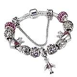 FGTYJ Voyage Avion Et Le Charme De La Terre Bracelet Femmes avec des Perles De La Couronne Fit Snake Chain Bracelets Femme DIY Bijoux