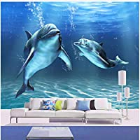 Xbwy 装飾壁画漫画のイルカの壁の壁画壁紙不織布不織布壁装材の家の装飾をパーソナライズ-350X250Cm