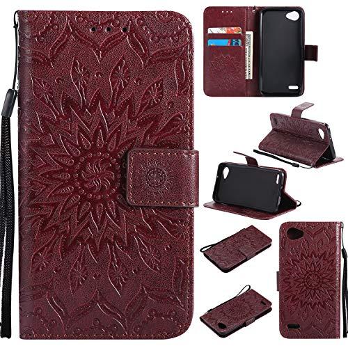 Hülle für LG Q6 / Q6+ (Q6 Plus) Handyhülle Schutzhülle Leder PU Wallet Bumper Lederhülle Ledertasche Klapphülle Klappbar Magnetisch für LG Q6 / M700N - ZIKT031735 Braun
