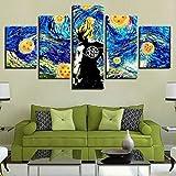 lcyfg Cuadros Decoracion SalonOne Piece Starry Night Vincent Van Gogh - Película Marco Decoración para el hogar Imagen Sala de Estar Cartel de impresión HD 5 Piezas