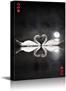wall26 - Poker Cards Canvas Wall Art - Hearts 2 - Two Swans on The Water Forming a Heart Shape Under The Moon - Gallery Wrap Modern Home Decor   Ready to Hang - 12x18 inches