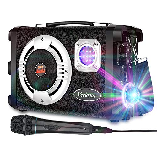 Verkstar Karaoke Machine Portable PA System Rechargeable Wireless Bluetooth Speaker for Kids Adults with Disco Ball & Wired Microphone Suitable for Thanksgiving,Christmas,Birthday Party
