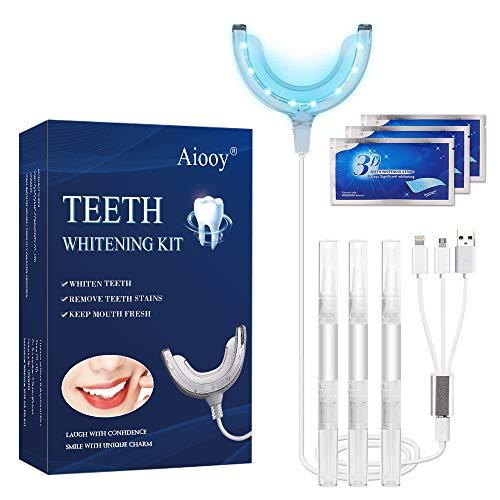 Zahnaufhellung Set, Teeth Whitening Kit, Bleaching Zähne, professionelles Zahn-Zahnaufhellungs-Gel zum Aufhellen und Entfernen von Flecken, Wiederverwendbares Home Zahnaufhellungs-Kit