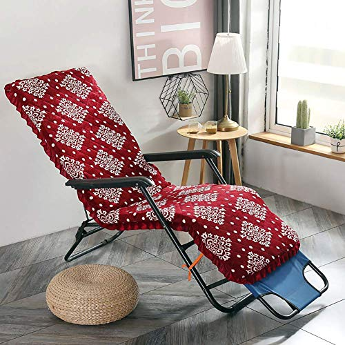JY&WIN Stretch Velvet Rocking Chair Cushion, Pastoral Pattern One Piece Chair Cushion, Lace Garden Recliner Seat Cushion, Long Back Cushion B 52x160cm