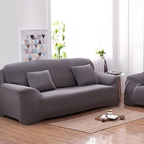 Yosoo 3 Sitzer-Sofa-Abdeckungen 7 Vollfarben-voller Ausdehnungs-Schützer-elastischer Gewebe-weicher Sofa-Abdeckungs-Sofa-Schutz-Hauptmöbel (Farbe : Grau)