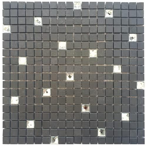 Mosaico mate pizarra cristal diamante antracita piedra natural azulejos negro M051