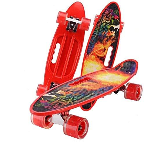 Skateboard Mini-Kreuzfahrt, Skateboards Für Kinder, Mit Blinkenden LED-Rädern, Leicht Zu Tragen Und Kann In Einem Rucksack (Color : Red)