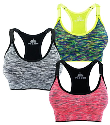 Women's Seamless Wirefree Racerback Adjustable Straps Sports Bra (M, 3 Pack B)