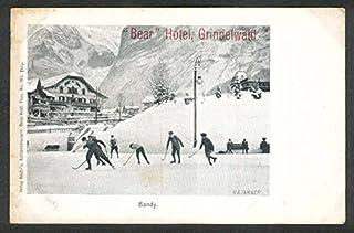 Ice Hockey at Bear Hotel Grindelwald Switzerland undivided back postcard 1900s
