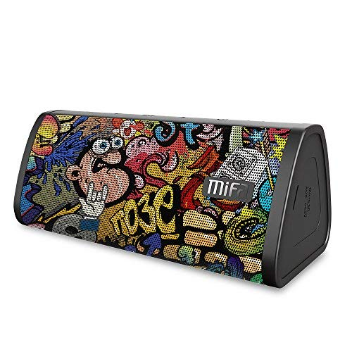 Bluetooth Speakers, MIFA A10 Portable Soundbox True Wireless Stereo for Party, 16 Hours Playtime, 10W Loud Sound Rich Bass, IP45 Waterproof, Built-in Mic for Handsfree Call, TF Card Slot, Graffiti