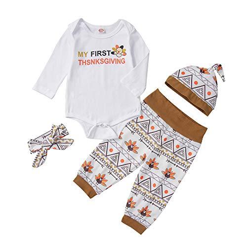 Wide.ling herfst-winter pasgeboren baby jongen meisje mijn eerste Thanksgiving Outfit kleding set lange mouwen Romper Jumpsuit tops + broek + hoed