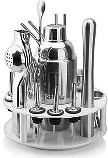 Cocktail Shaker Set مجموعة شريط، 16 قطعة من الفولاذ المقاوم للصدأ أدوات الفولاذ المقاوم للصدأ شاكر، مع موقف الدورية عرض مو...
