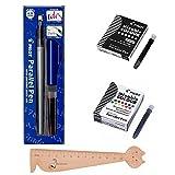Pilot Parallel Pen 6,0 mm + 1 caja de 12 cartuchos de tinta colores surtidos + 1 caja de 6 cartuchos + 1 regla marcapáginas de madera Blumie