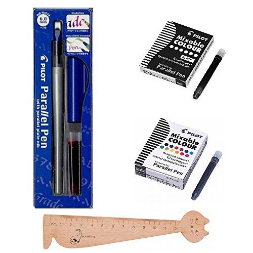 """Set con penna Pilot """"Parallel Pen"""" 6,0 mm +1 scatola con 12 cartucce di inchiostro di colori assortiti + 1 scatola con 6 cartucce nere + 1 righello segnalibro in legno Blumie"""